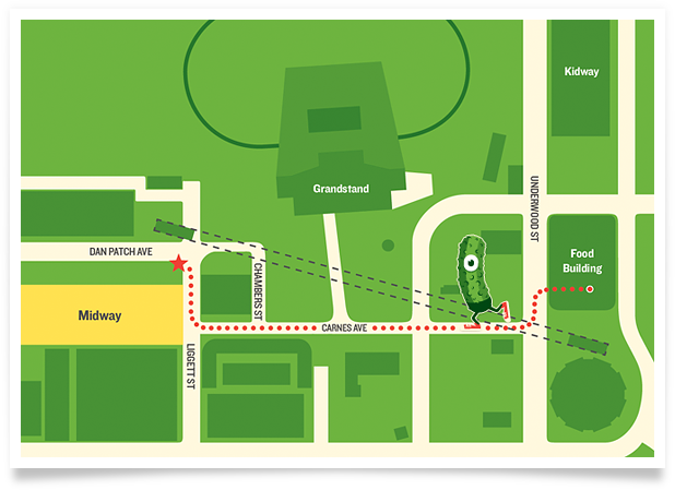 Map of The Perfect Pickle locations on the corner of Dan Patch Ave and Ligget Street next to the Midway entrance